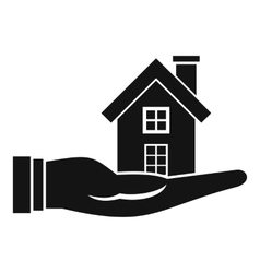 House in hand icon simple style vector image