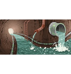 Inside the sewer vector image