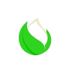 Isolated abstract white drop of milk in green vector