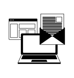 laptop email message vector image
