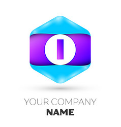 Letter i logo symbol in colorful hexagonal vector