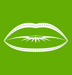 lips with lines drawn around it icon green vector image