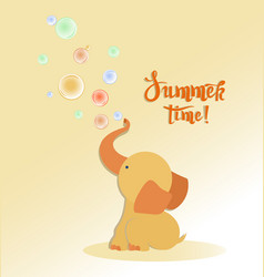 Little baelephant with soap bubbles summer vector