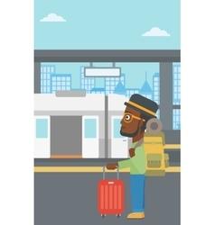 Man at the train station vector