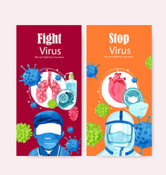 Medical flyer design with doctor mask lungs vector