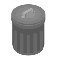 Metal garbage bin icon isometric style vector