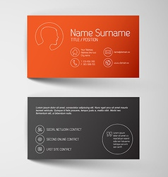 Modern red business card template with simple vector