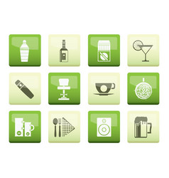 night club bar and drink icons vector image