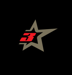 Number 3 logo template with star design element vector