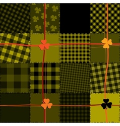 Patchwork with shamrocks vector image