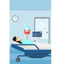 Patient lying in hospital bed vector