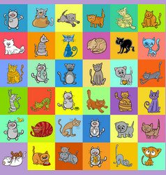 pattern design with cartoon cat characters vector image