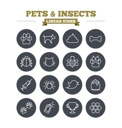 Pets and Insects linear icons set Thin outline vector image