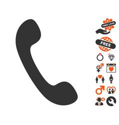 Phone icon with dating bonus vector