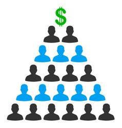 Ponzi pyramid scheme flat icon vector