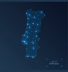 Portugal map with cities luminous dots - neon vector