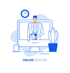 Practitioner cardiologist give online consultation vector