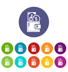 purse icons set color vector image