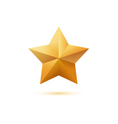realistic golden 3d star icon isolated on white vector image