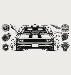 retro custom car vintage concept vector image