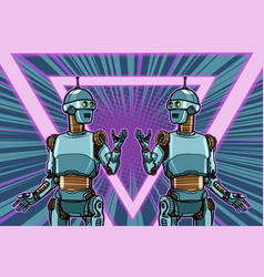 Robot cyber monday advertising poster vector