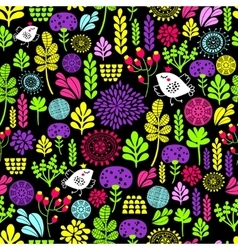 Romantic seamless pattern with cute flowers and vector image