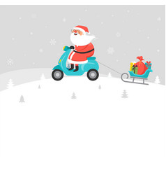 santa claus riding on scooter delivery christmas vector image