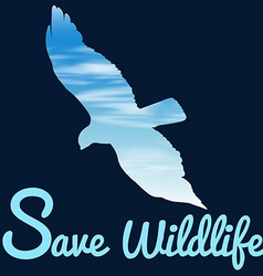 Save wildlife theme with bird flying vector