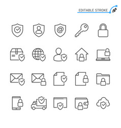 security line icons editable stroke pixel vector image