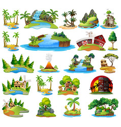 set nature lanscape vector image