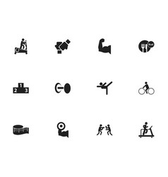Set of 12 editable sport icons includes symbols vector