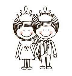 Silhouette girl and boy standing with crown vector