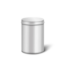 Silver aluminium metal box with cylinder shape and vector