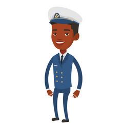 Smiling ship captain in uniform vector