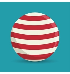 Sphere ball red and white circus icon vector