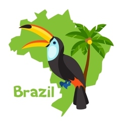 Stylized map of Brazil with toucan and palm tree vector image