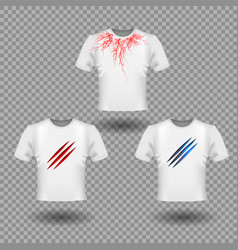T-shirt mockup with claws scratches and human vector