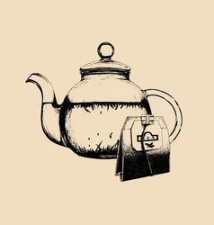 tea set hand drawn sketch of vector image