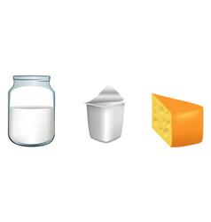 Three milk products vector