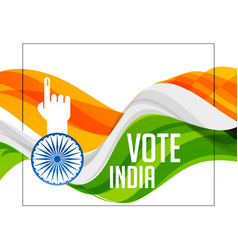 tri color indian flag with voting hand vector image