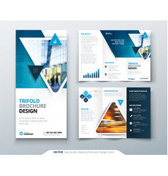 tri fold brochure design blue template for tri vector image