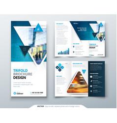 Tri fold brochure design blue template for vector