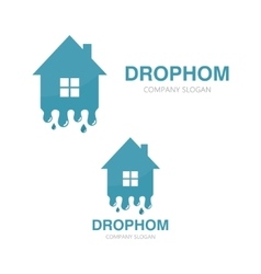 Water and drop house logo vector