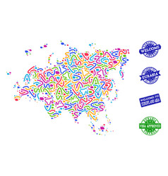 Welcome collage of mosaic map of europe and asia vector