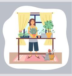 woman transplanting plants at home enjoy vector image