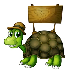 A turtle with a wooden signboard at the back vector image vector image