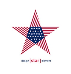 Abstract design element star with american flag vector image