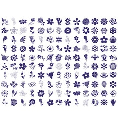 flower icons on a white vector image vector image