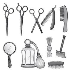 vintage hairdresser tools set vector image vector image