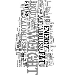 Your metabolism and fat loss text word cloud vector